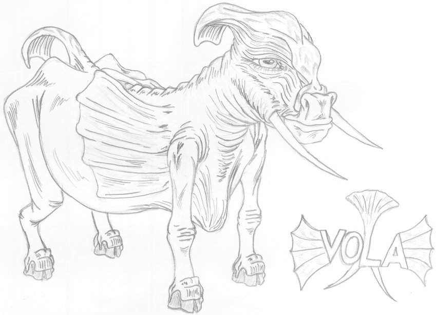 Vola - The flaps on the sides, the flip on the head and the fan on the tail are all used to scare away enemies. The tusks are for digging up roots, but can be used for defense.